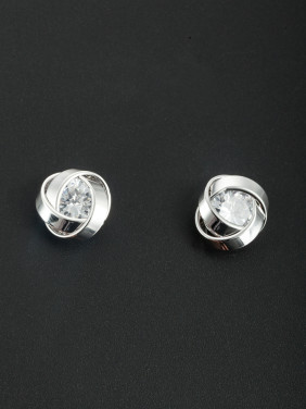 Platinum Plated Personalized Zircon White Studs Earring