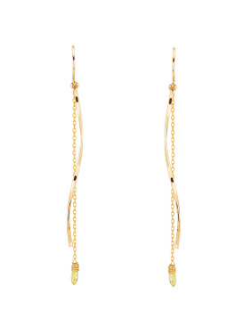 Gold Plated Copper Fringe Stone Drop Earring