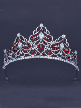 Red and white Zircon, Platinum Plated  Wedding Crown