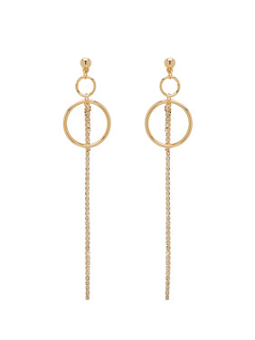 New design Gold Plated Zinc Alloy Round Rhinestone Drop threader Earring in Gold color