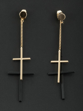 The new Gold Plated Cross Drop Earring with Multicolor