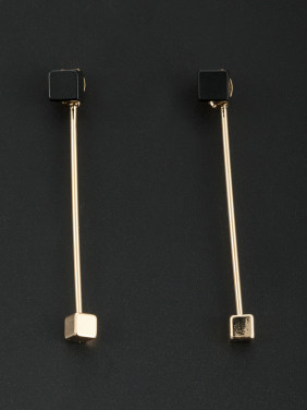 Gold Plated Square Black Beautiful Drop Earring