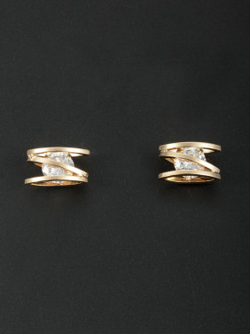 New design Gold Plated Zircon Studs Earring in White color