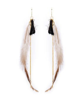 Feather Drop Earring with Gold Plated Copper
