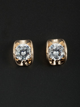 Personalized Gold Plated White Geometric Zircon Studs Earring