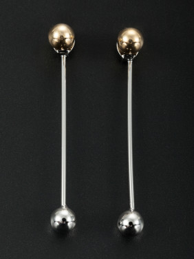 Gold Round Drop Earring with Platinum Plated