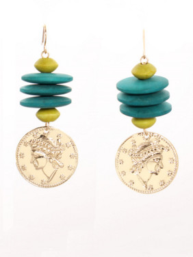 Multi-Color Personalized Drop Earring with Gold Plated Zinc Alloy Turquoise
