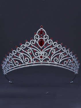 The new Platinum Plated Zircon Wedding Crown with Red