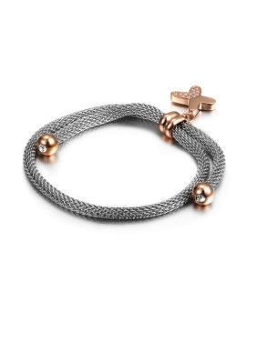 Wire Butterfly Titanium Rose Gold Bracelet
