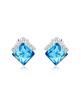 18K White Gold Austria Crystal Square-shaped Earrings