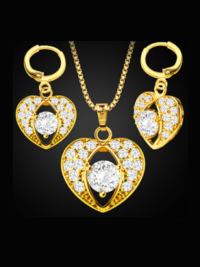 18K Heart shaped Zircon Two Pieces Jewelry Set