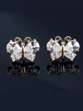 High Quality Zircon 18K Gold Plated Butterfly Animal Classic stud Earring