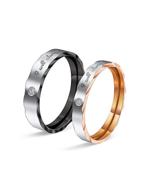 Rhinestones Smooth Lovers Rings