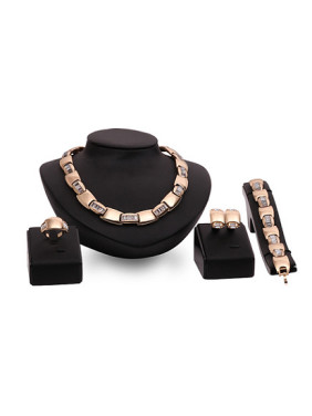 Alloy Imitation-gold Plated Fashion Rhinestones Four Pieces Jewelry Set