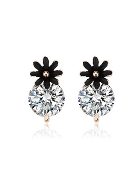 Fashion Black Flower Zircon Stud Earrings