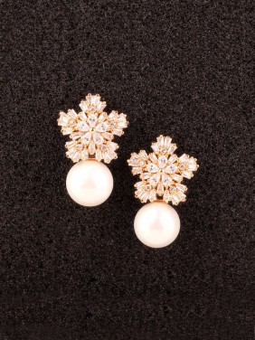 Freshwater Shell Beads AAA Zircon Sterling Silver Champagne Gold Plated stud Earring