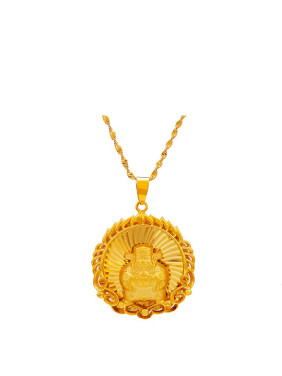 Copper Alloy 24K Gold Plated Ethnic style God of Fortune Pendant