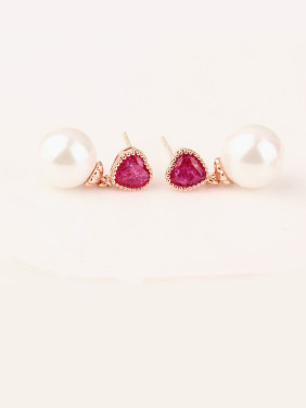 Love Blossoming Red Corundum 5 #  Sterling Silver Bead stud Earring