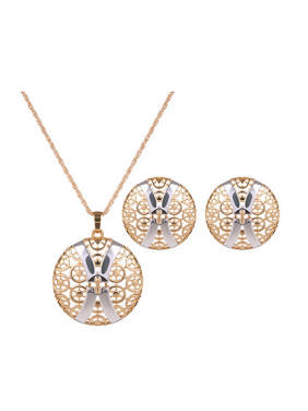 Alloy Imitation-gold Plated Fashion Hollow Round Two Pieces Jewelry Set
