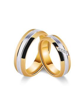 18K Gold Plated Zircon Smooth Lovers Rings