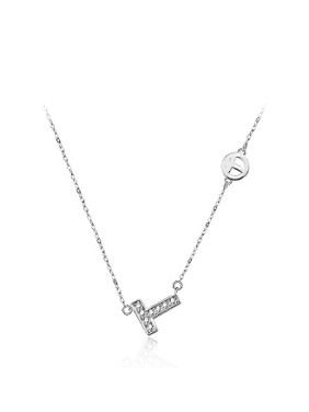 Simple T-shaped Rhinestones Silver Necklace