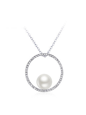 Simple Artificial Pearl Rhinestones Necklace