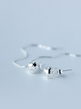 S925 Silver Hollow Sphere drop earrings