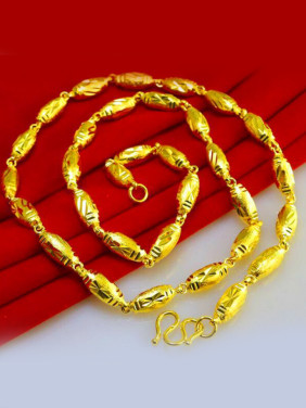 Exquisite Gold Plated Geometric Shaped Necklace