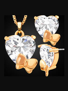 Fashion Butterfly Heart Zircon Two Pieces Jewelry Set
