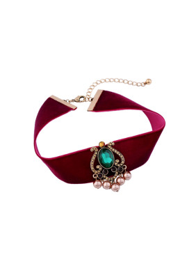Retro Red Ribbon Alloy Choker