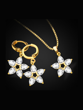 18K Fashion Five-pointed Star Zircon Two Pieces Jewelry Set