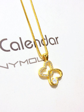 Women All-match Double Heart Shaped Necklace