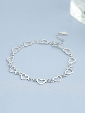 Fashion 925 Silver Heart Shaped Bracelet