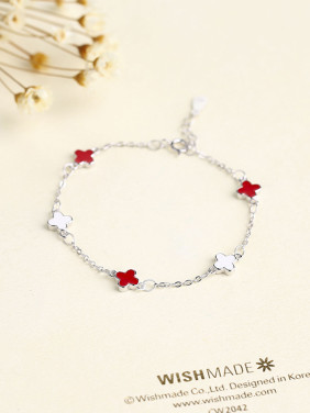 Beautiful 925 Silver Flower Shaped Bracelet