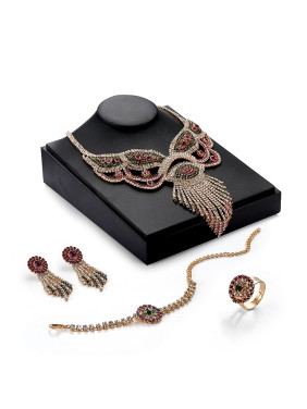 Alloy Imitation-gold Plated Ethnic style Rhinestones Four Pieces Jewelry Set