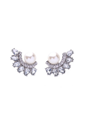 Shining Zircons Leave-shape Stud Cluster earring