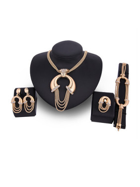 Alloy Imitation-gold Plated Fashion Rhinestones Exaggerated Four Pieces Jewelry Set