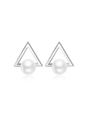 18K White Gold 925 Silver Triangle Shaped Pearl Earrings