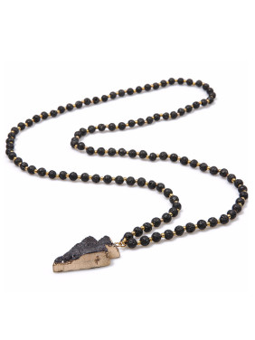 Irregular Volcano Stone Natural Crystal Necklace