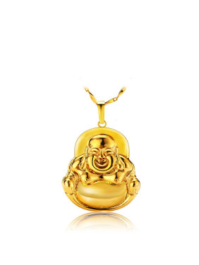 Copper Alloy 23K Gold Plated Retro style Laughing Buddha Pendant