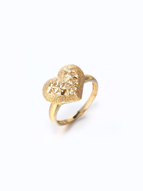 Copper Alloy 18K Gold Plated Heart-shaped Stamp Ring