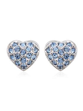Heart shaped Austria Crystals Stud Earrings