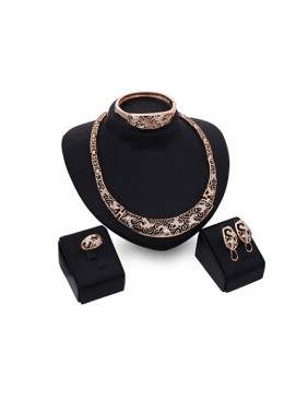 Alloy Imitation-gold Plated Vintage style Rhinestones Hollow Four Pieces Jewelry Set