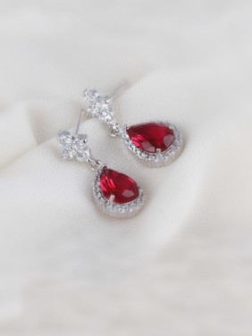 Diamond Zircon Drop Rose Red High-grade Dinner Earrings