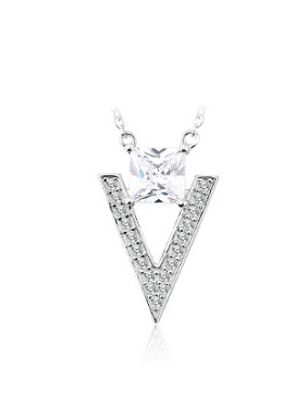 Simple Square Zircon V-shaped Necklace