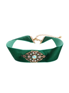 Green Ribbon Alloy Choker