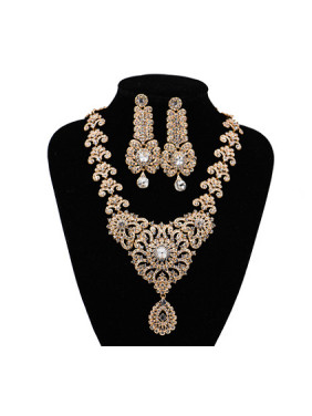 Retro Flower Glass Rhinestones Two Pieces Jewelry Set