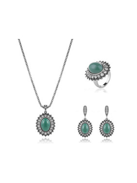 Alloy Antique Silver Plated Vintage style Artificial Stones Oval Three Pieces Jewelry Set