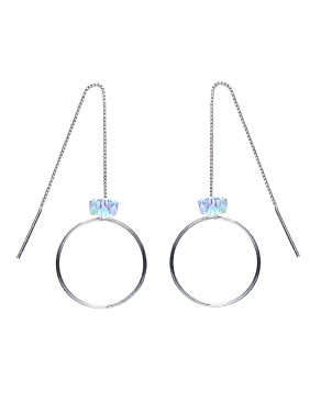 S925 Silver Round-shaped Ear Wires