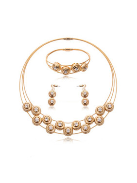 Alloy Rose Gold Plated Fashion Rhinestones Round Three Pieces Jewelry Set
